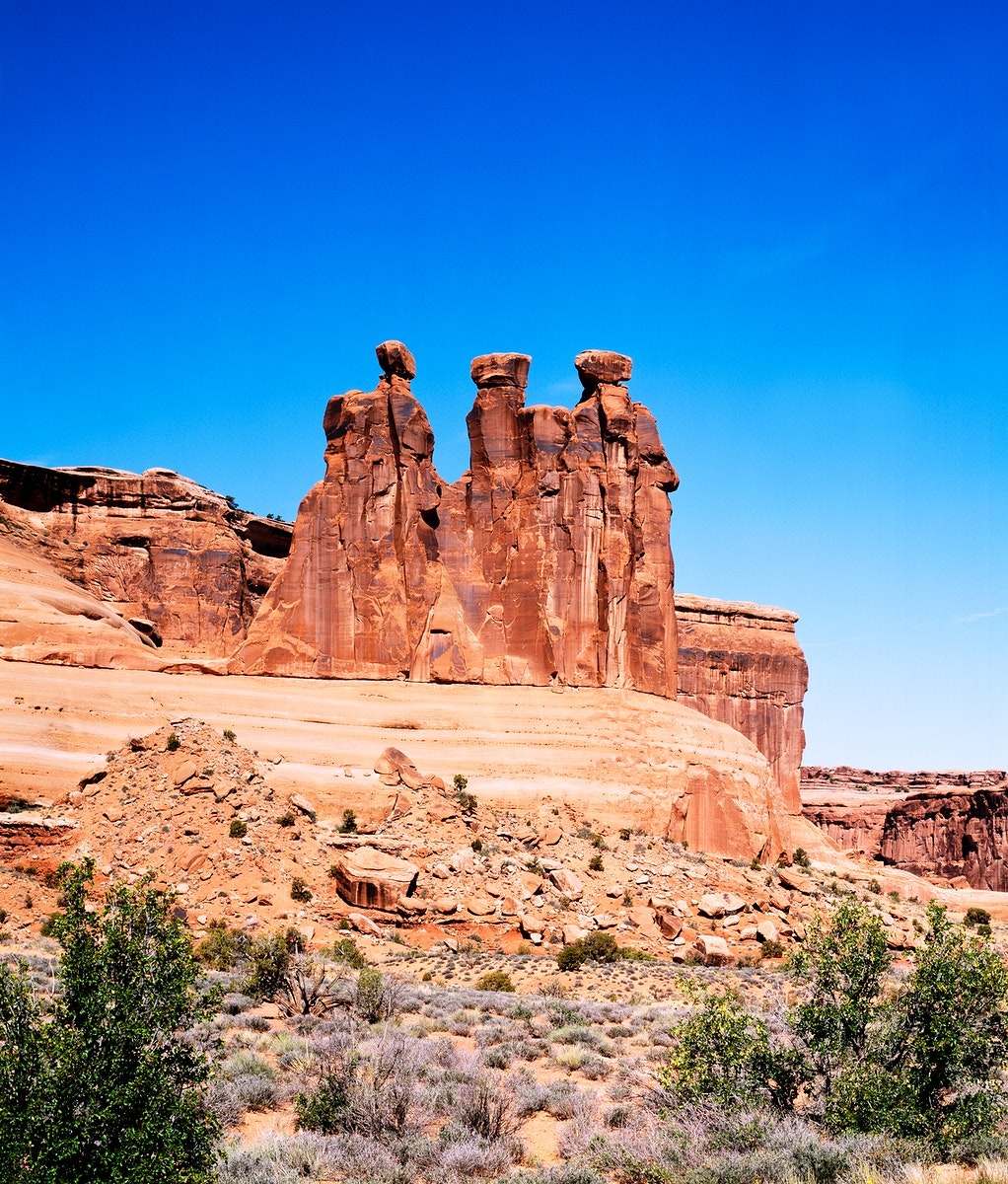 Three Gossips Formation, Arches National Park, Utah. Old Mammoth Road. Original image from Carol M. Highsmith's…