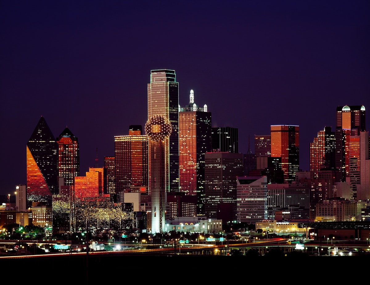 Dusk view of the Dallas, Texas skyline. Original image from Carol M. Highsmith's America, Library of Congress…