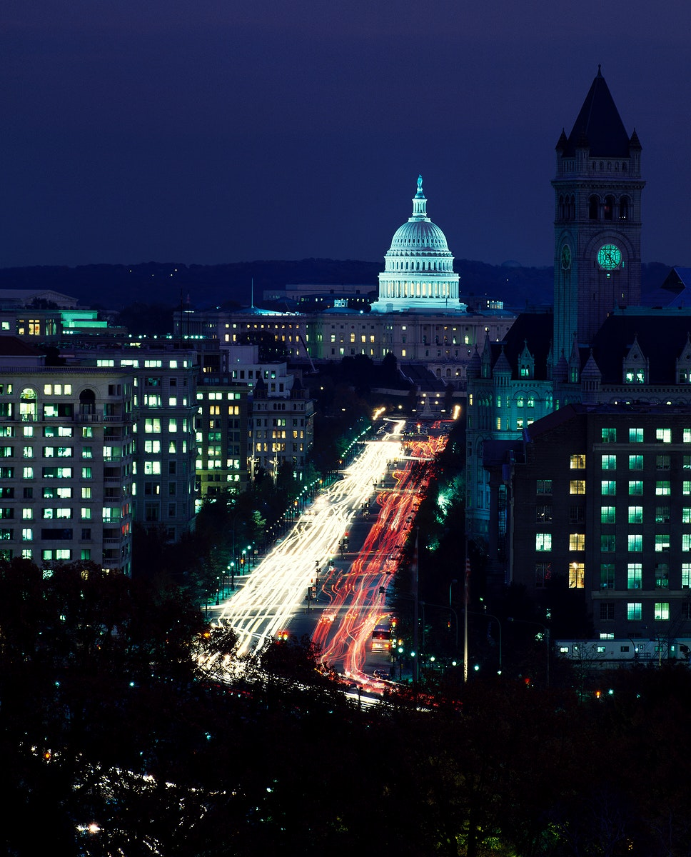 Dusk view of Pennsylvania Avenue, D.C. Original image from Carol M. Highsmith's America, Library of Congress…