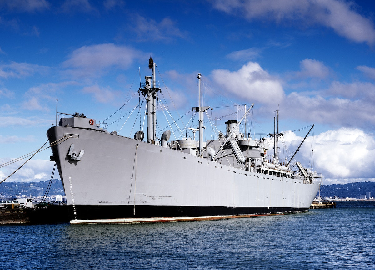 Liberty Ship S.S. Jeremiah O'Brien slid down the ways at the New England Shipbuilding Corporation in South Portland, Maine.