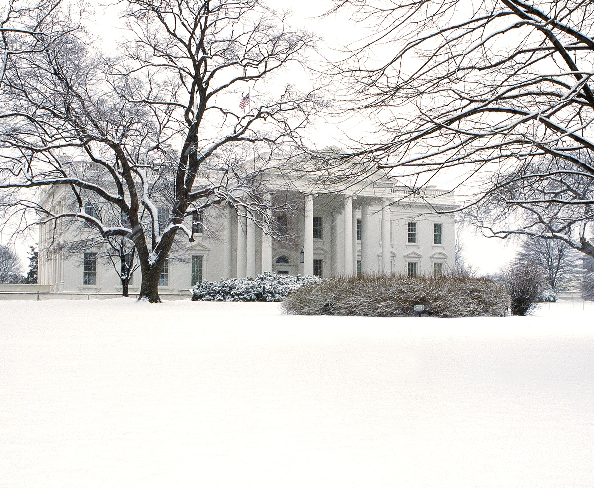 Wintertime view of the White House. Original image from Carol M. Highsmith's America, Library of Congress collection.…