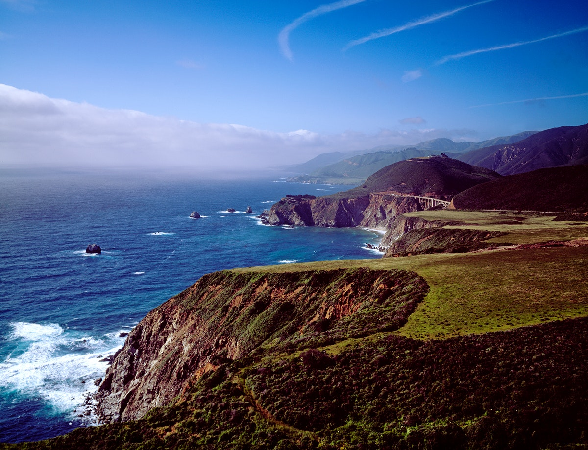 Pacific Ocean and rocky California coast. Original image from Carol M. Highsmith's America, Library of Congress…