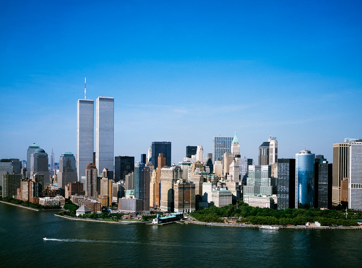 The World Trade Center taken a month before 9/11. Original image from Carol M. Highsmith's America, Library of Congress…