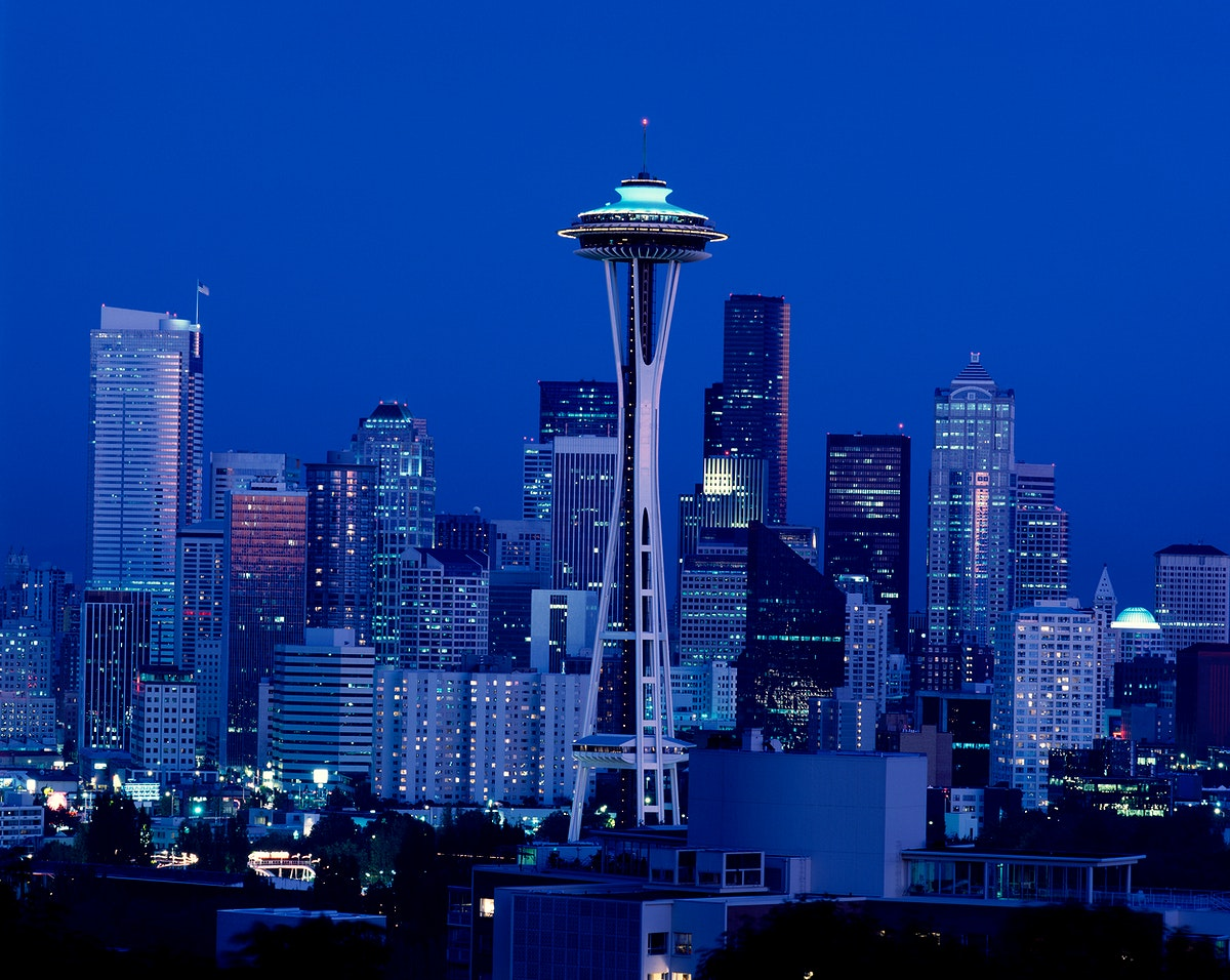 Seattle at night. Original image from Carol M. Highsmith's America, Library of Congress collection. Digitally enhanced…