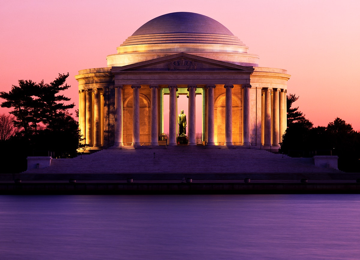 Jefferson Memorial at dusk. Original image from Carol M. Highsmith's America, Library of Congress collection. Digitally…