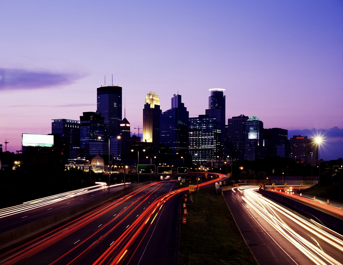 Minneapolis skyline at dusk. Original image from Carol M. Highsmith's America, Library of Congress collection.…
