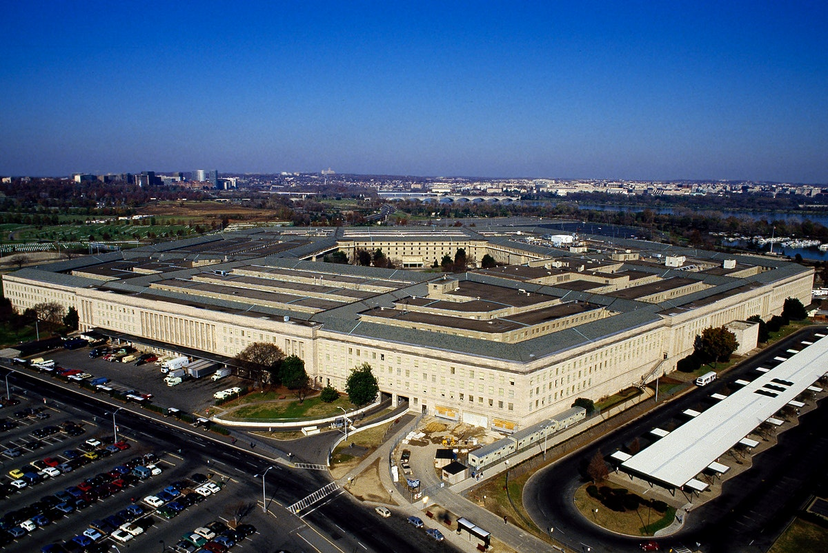Aerial view of the Pentagon. Original image from Carol M. Highsmith's America, Library of Congress collection.…