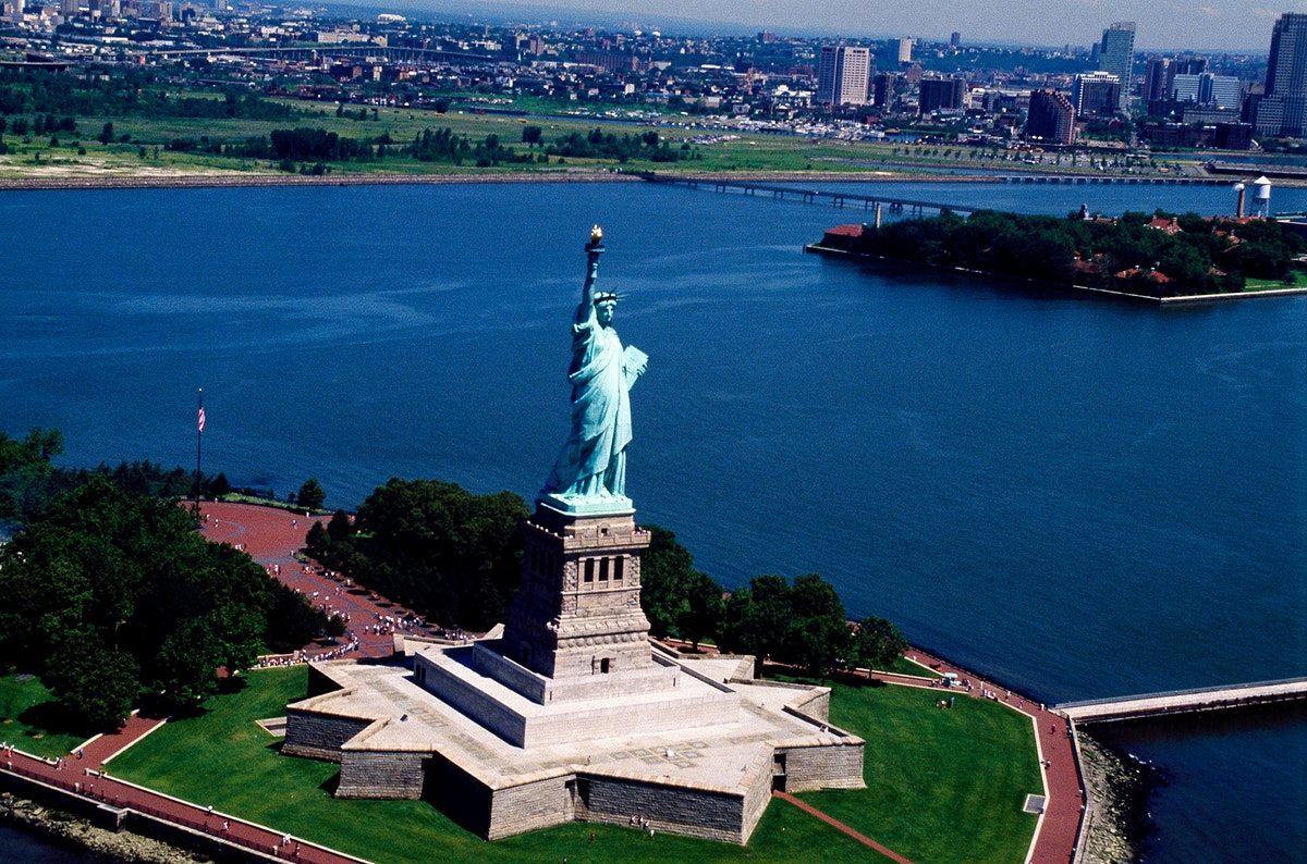 Aerial view of the Statue of Liberty. Original image from Carol M. Highsmith's America, Library of Congress collection.…