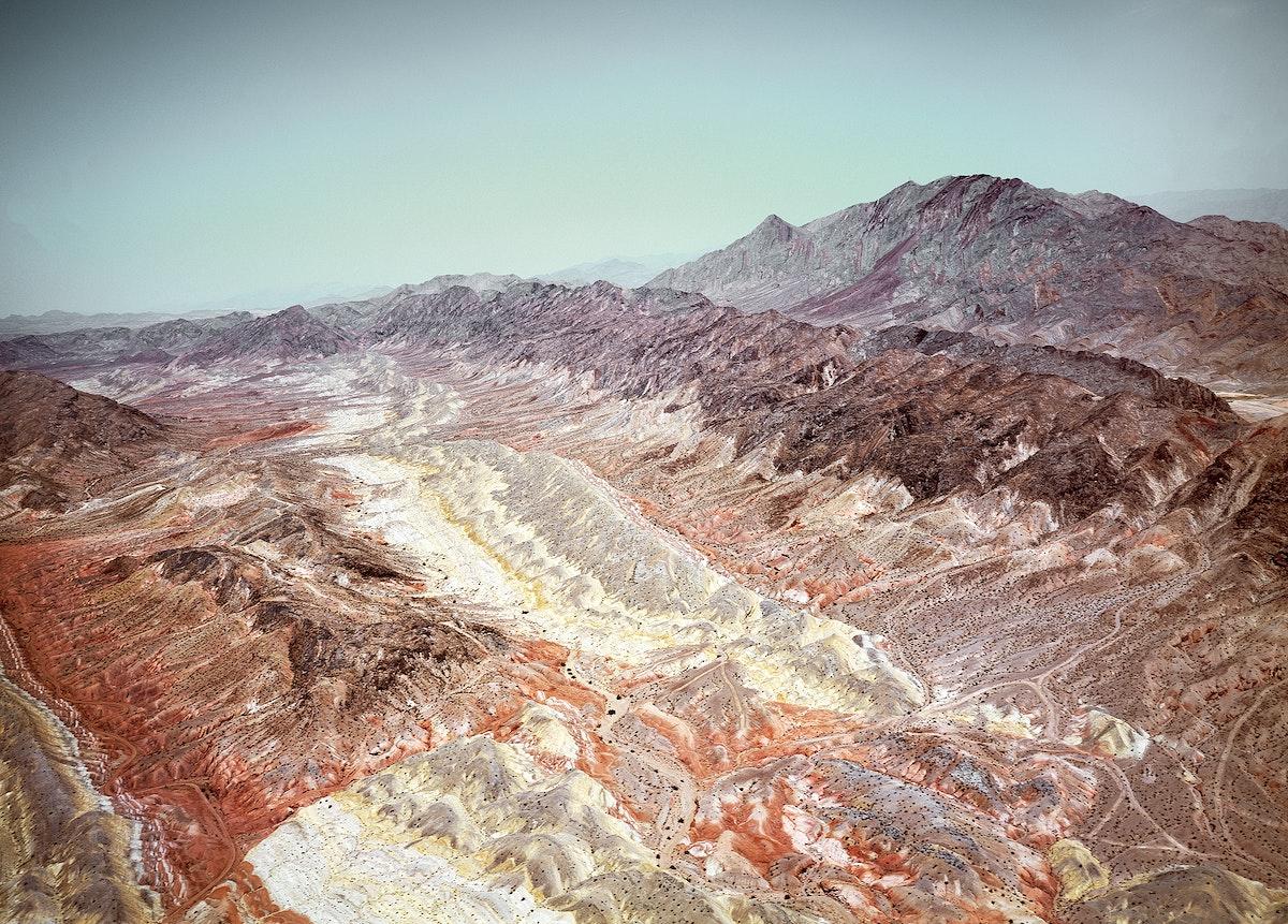 The barren Nevada desert near Las Vegas. Original image from Carol M. Highsmith's America, Library of Congress…