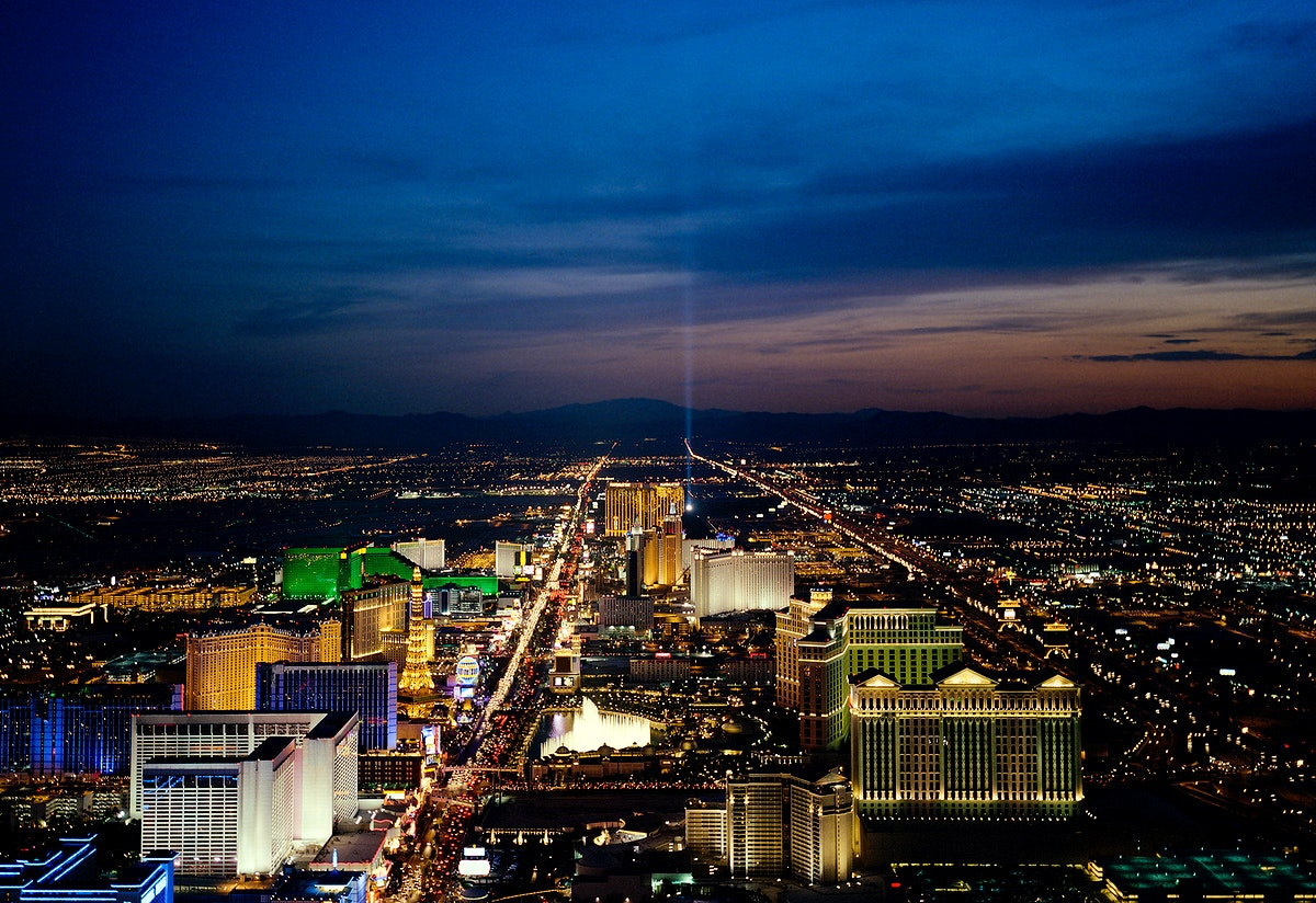 Aerial view of Las Vegas at night. Original image from Carol M. Highsmith's America, Library of Congress collection.…