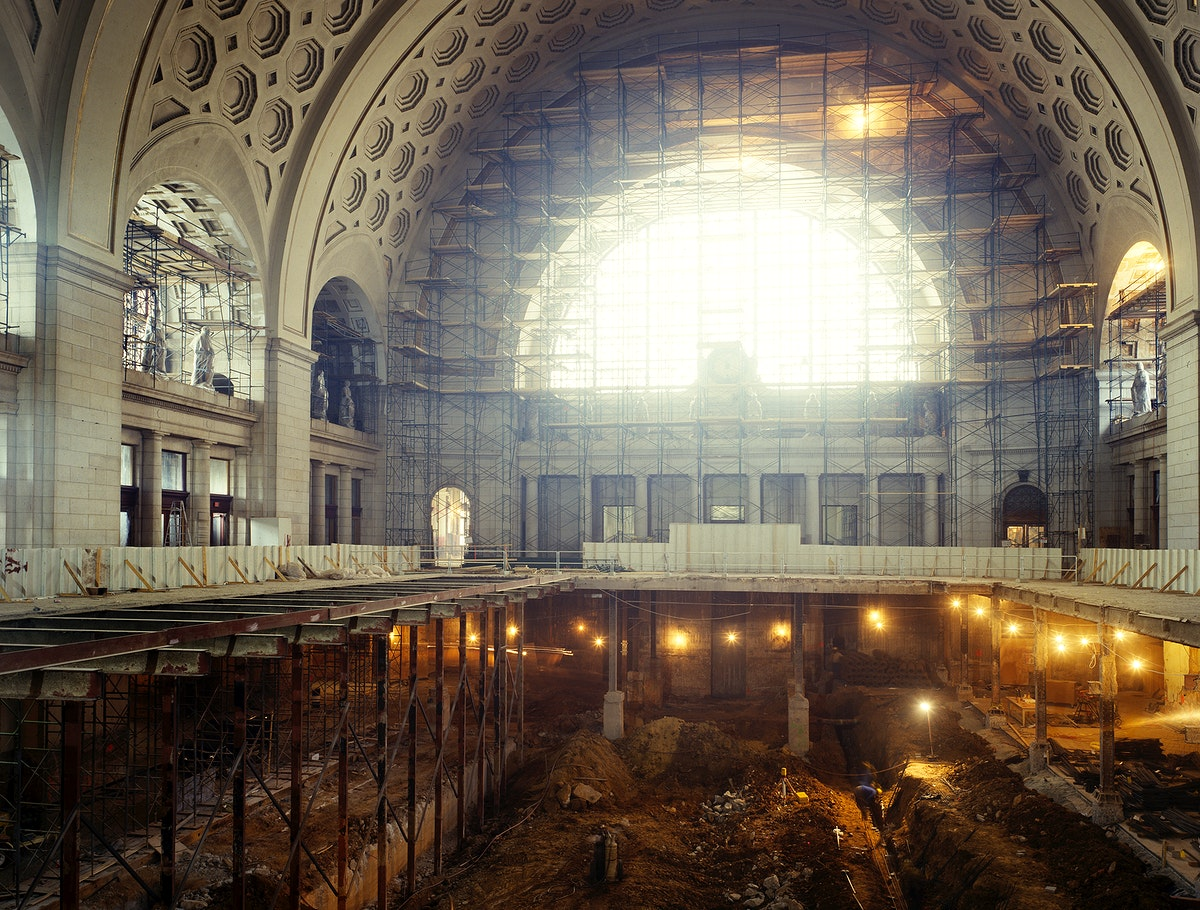 Union Station Great Hall during restoration in the 1980s. Original image from Carol M. Highsmith's America, Library of…