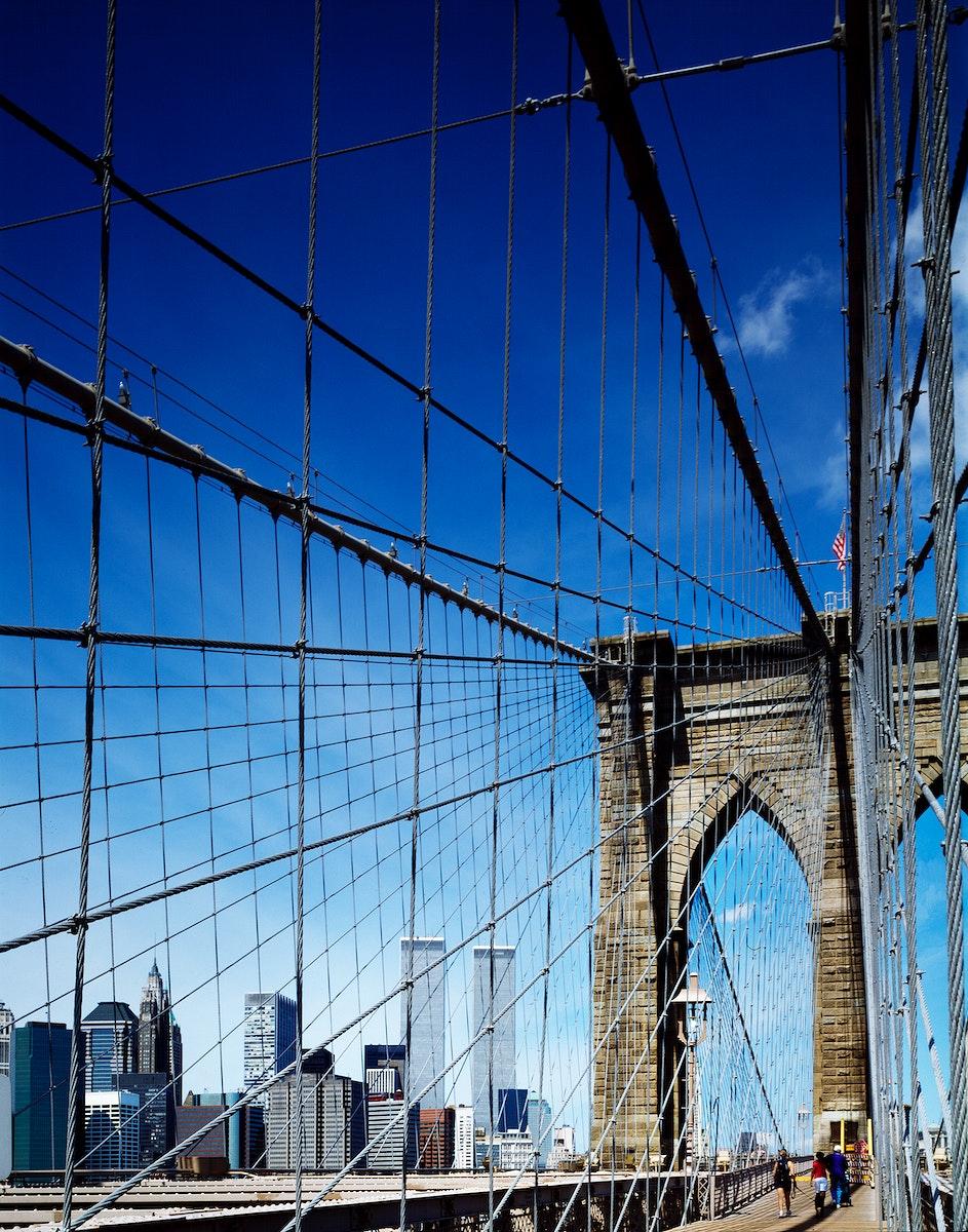Brooklyn Bridge before the terrorist attacks on 9/11/2001 - Original image from Carol M. Highsmith's America, Library…