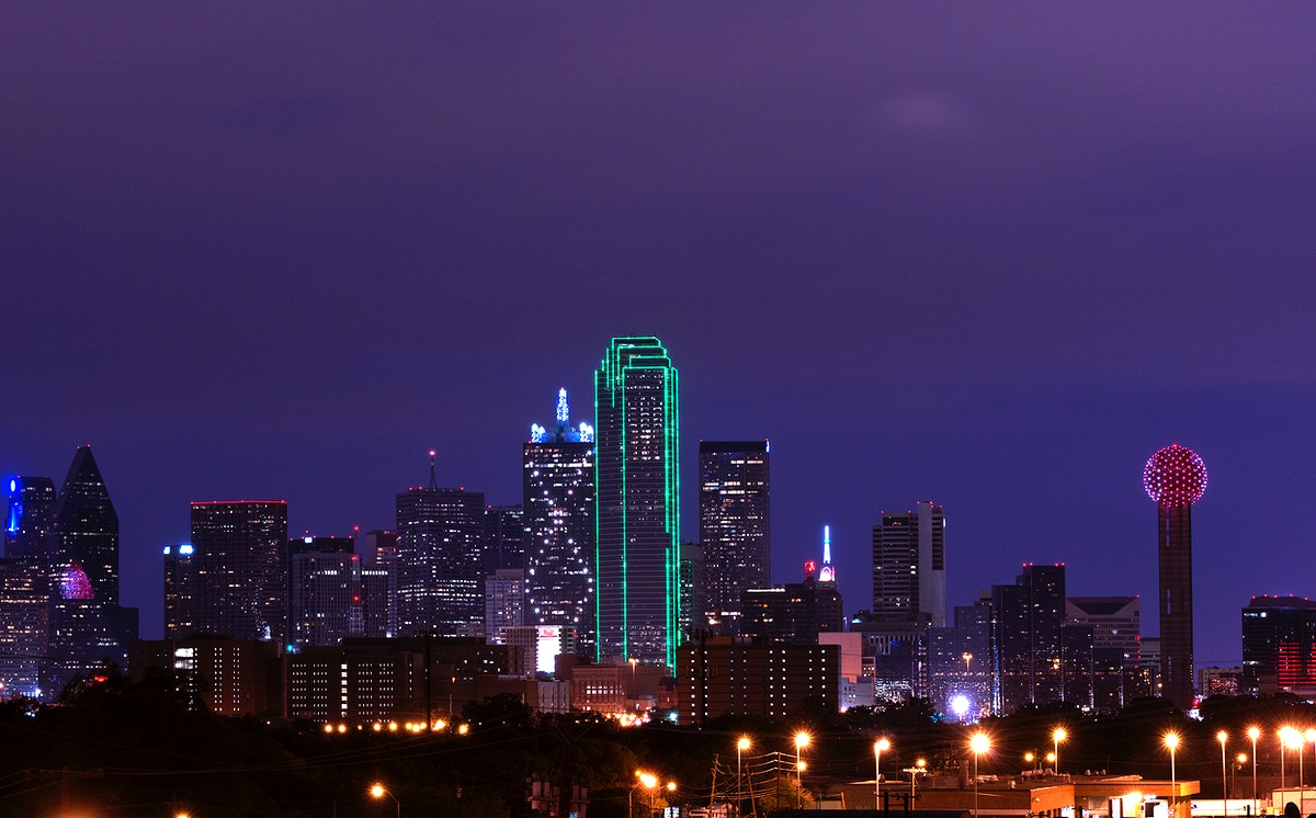 Skyline of Dallas, Texas, at dusk. Original image from Carol M. Highsmith's America, Library of Congress collection.…