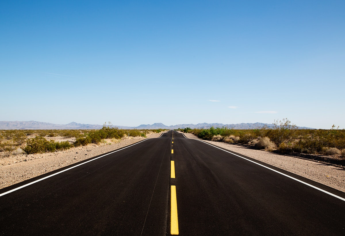 Highway leading to the Mojave Desert in California. Old Mammoth Road. Original image from Carol M. Highsmith's America…