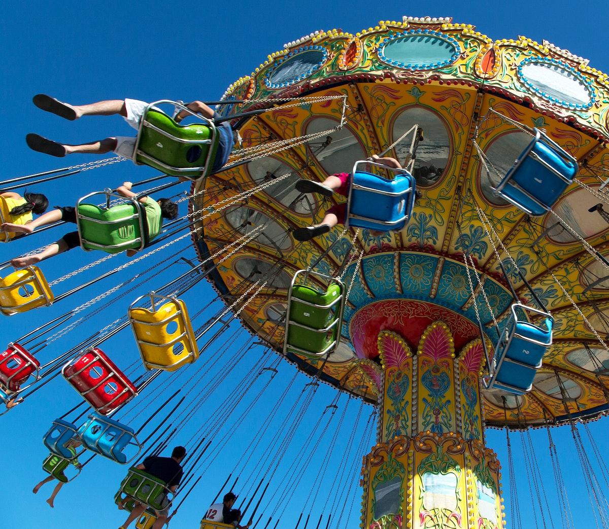 Swing ride in Santa Cruz, the county seat and largest city of Santa Cruz County, California. Original image from Carol M.…