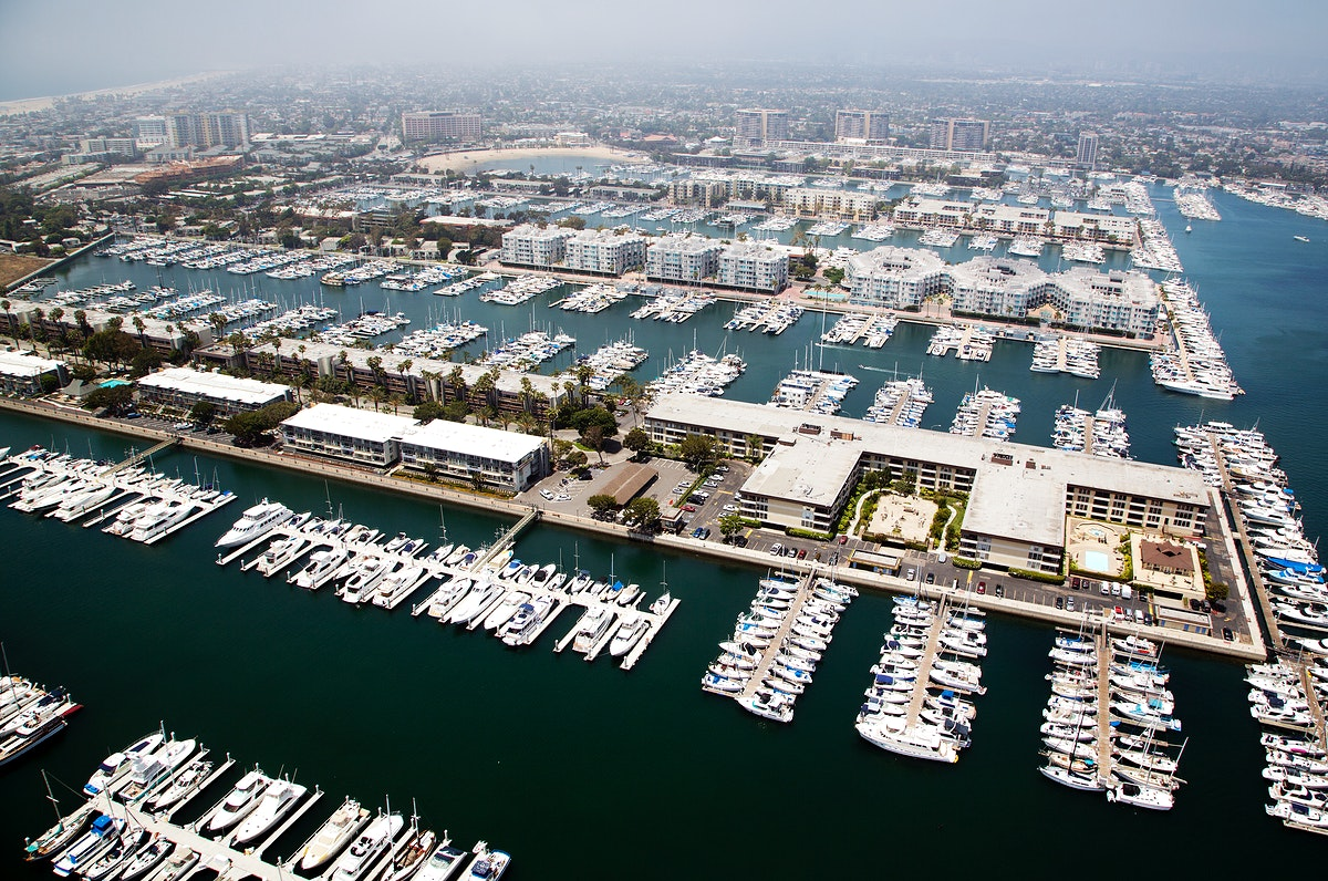 Aerial views of a marina in Los Angeles. Original image from Carol M. Highsmith's America, Library of Congress…