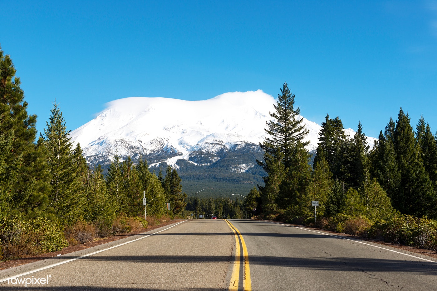 Soaring Mount Shasta is visible from miles away in north-central California. Original image from Carol M. Highsmith's...