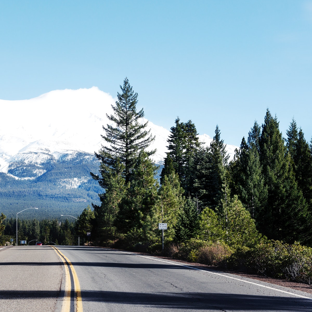 Soaring Mount Shasta is visible from miles away in north-central California. Original image from Carol M. Highsmith's…
