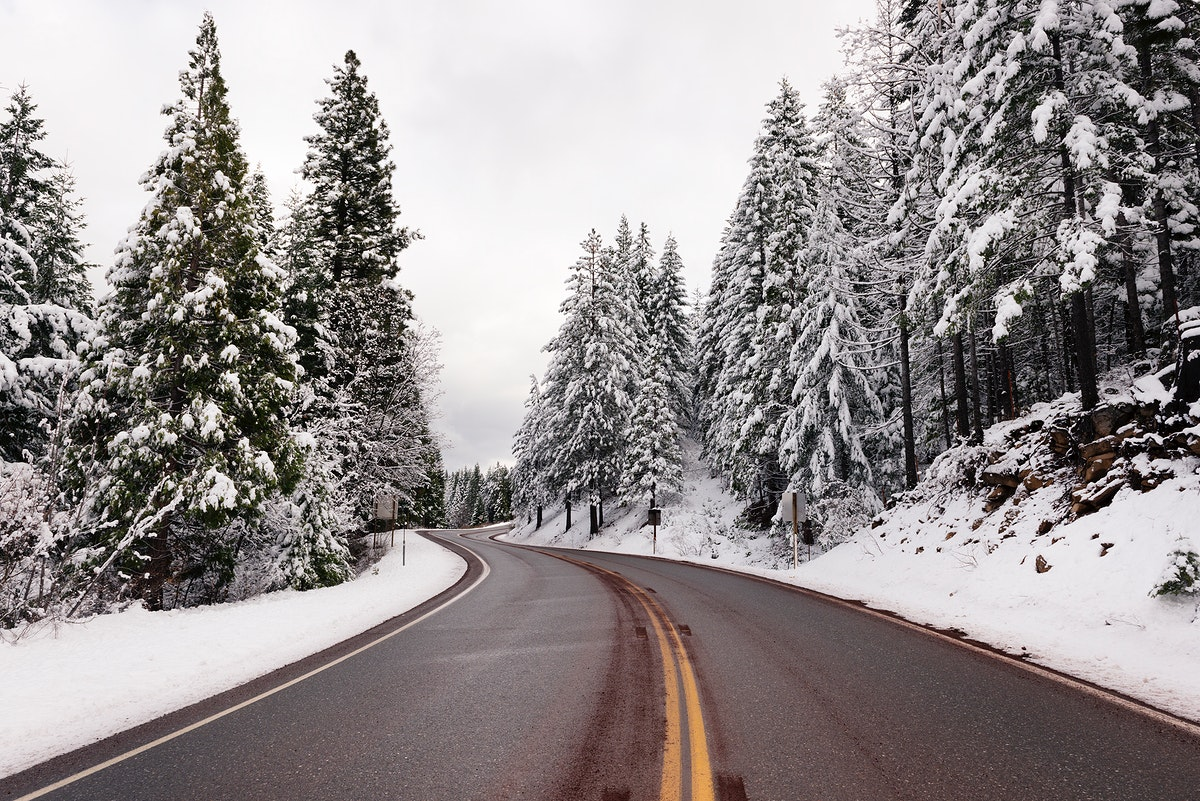 A living snow globe scene and winter wonderland, created by a sudden mountain blizzard along California Highway 36. Original…