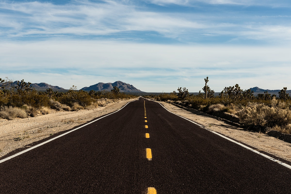 A very long and very brown road in the Mojave National Preserve in California. Original image from Carol M. Highsmith's…