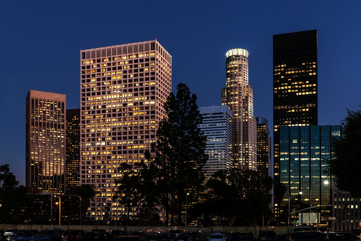 Central Los Angeles, California, at night. Original image from Carol M. Highsmith's America, Library of Congress…