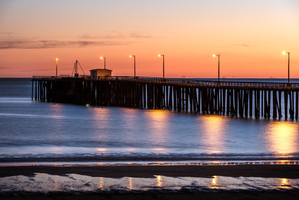 Sunset over the Pacific Ocean at the pier in Pismo Beach, California. Original image from Carol M. Highsmith's America…
