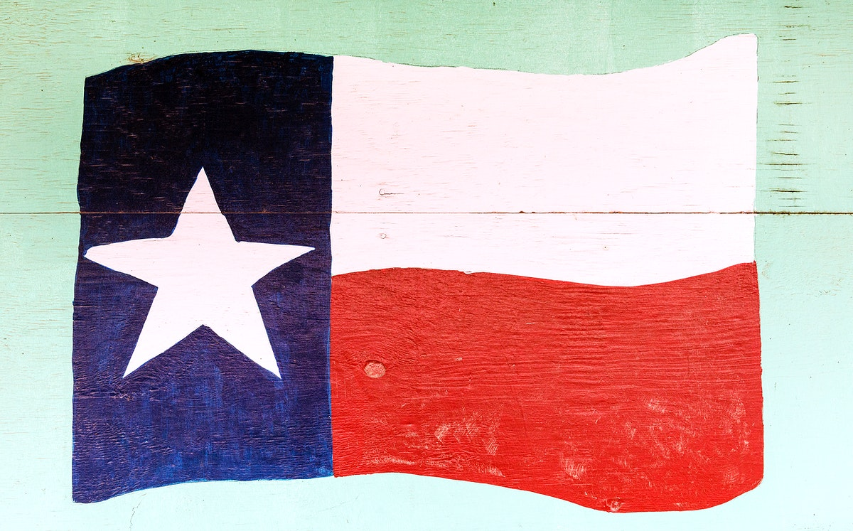 The flag of Texas, depicted on a downtown wall in Pecos, the seat of Reeves County, Texas. Original image from Carol M.…