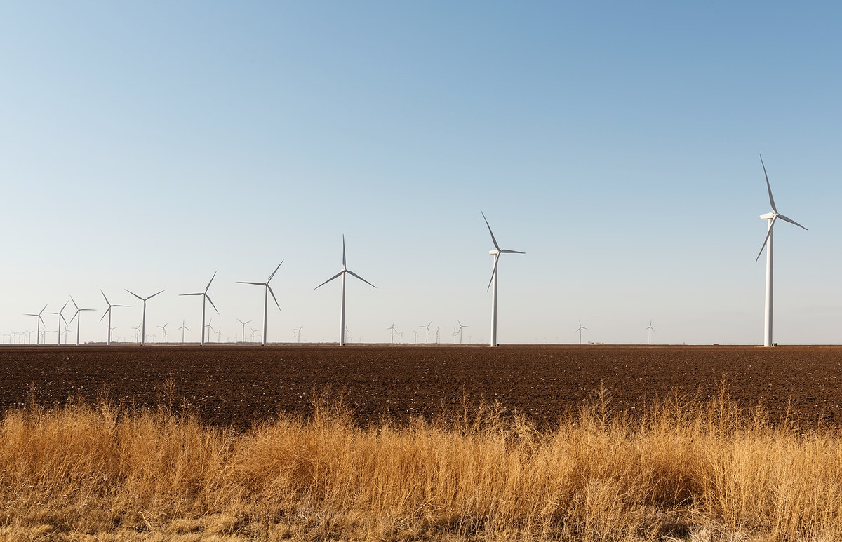 A wind-turbine farm near the city of Snyder in Scurry County, Texas. Original image from Carol M. Highsmith's America…