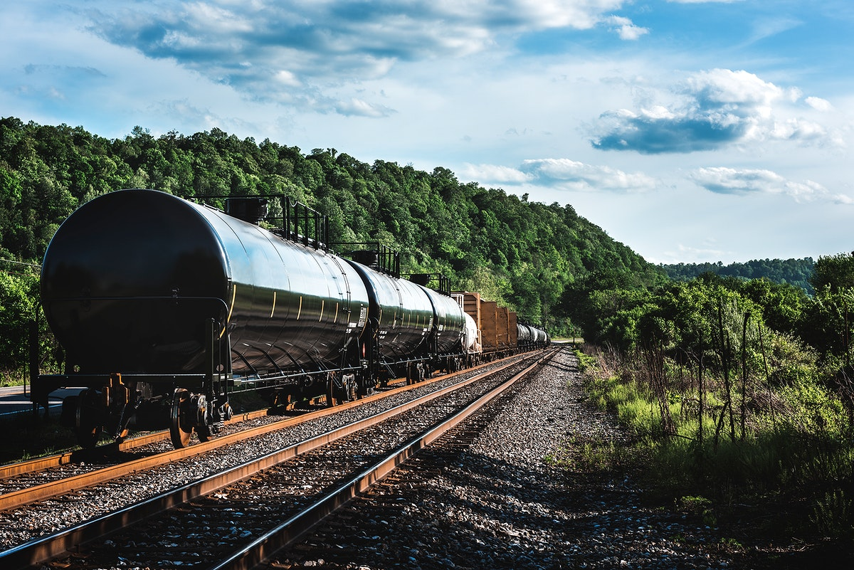 Black freight train on the railroad running across the United States. Original image from Carol M. Highsmith's America…