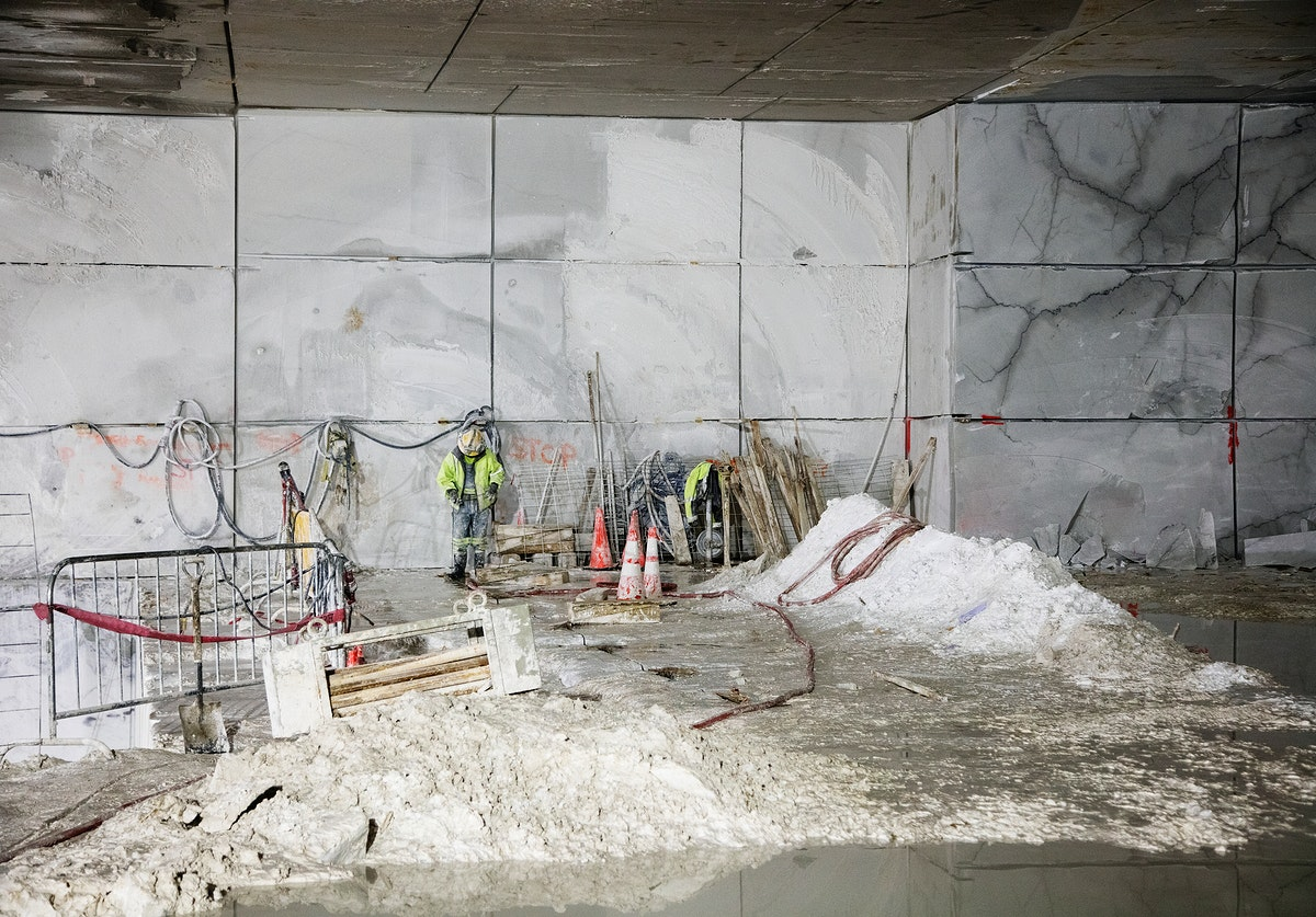Work progresses inside the Colorado Stone Quarries mine. Original image from Carol M. Highsmith's America, Library of…