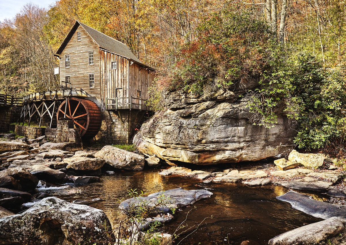 The Glade Creek Grist Mill. Original image from Carol M. Highsmith's America, Library of Congress collection. Digitally…