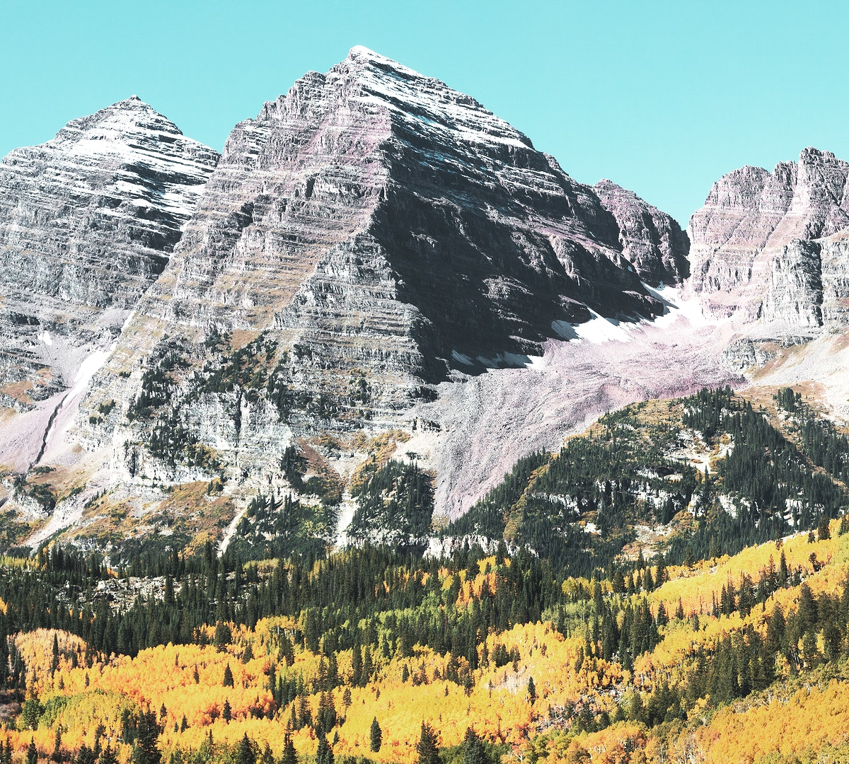 The Maroon Bells, just outside Aspen in Colorado's Rocky Mountains USA - Fall aspens in San Juan County, Colorado USA -…
