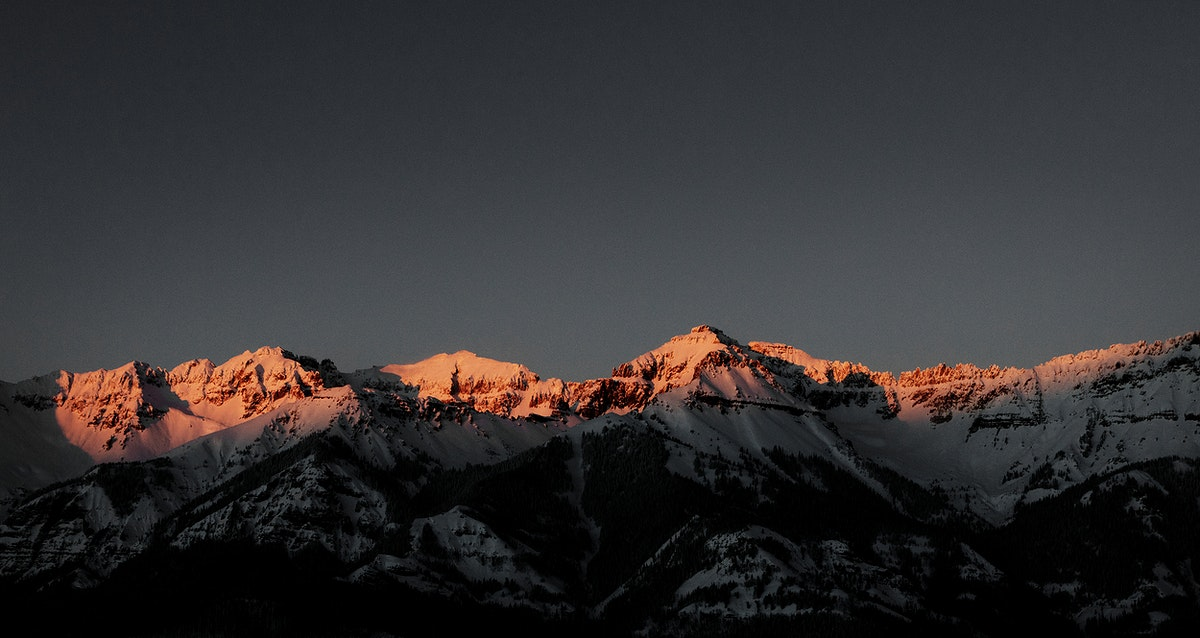 Mountain-sunset view from Telluride, once a mining boomtown and now a popular skiing destination in Colorado. Original image…