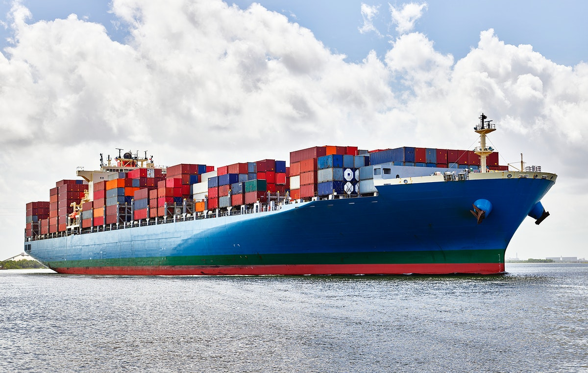 A massive container ship plies the Savannah River in Savannah, Georgia. Original image from Carol M. Highsmith's…