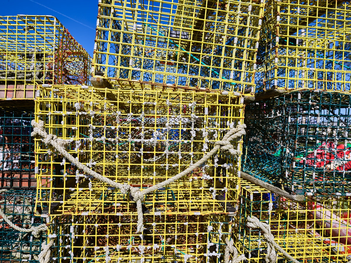 Lobster traps piled high on the Portsmouth, New Hampshire, docks. Original image from Carol M. Highsmith's America…