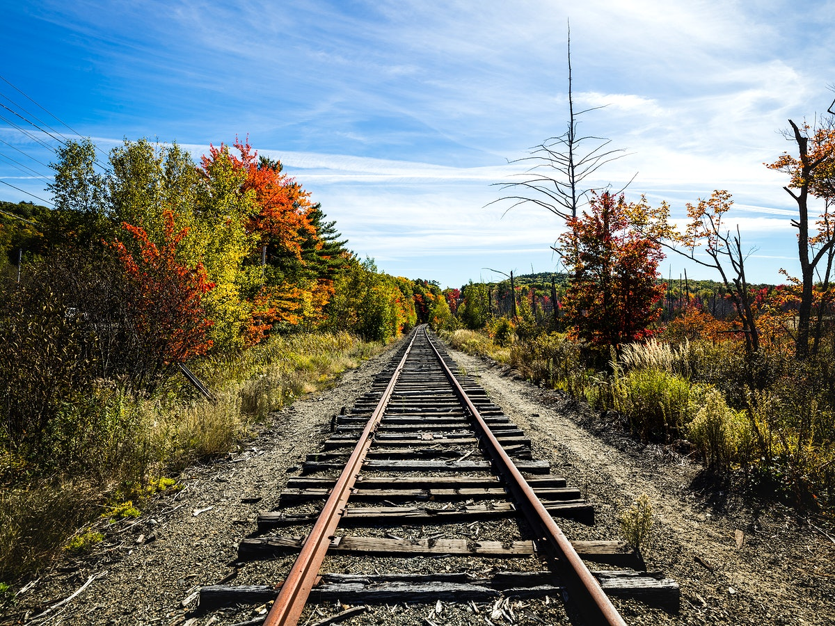 Fall along the railroad tracks in Bangor, Maine. Original image from Carol M. Highsmith's America, Library of Congress…