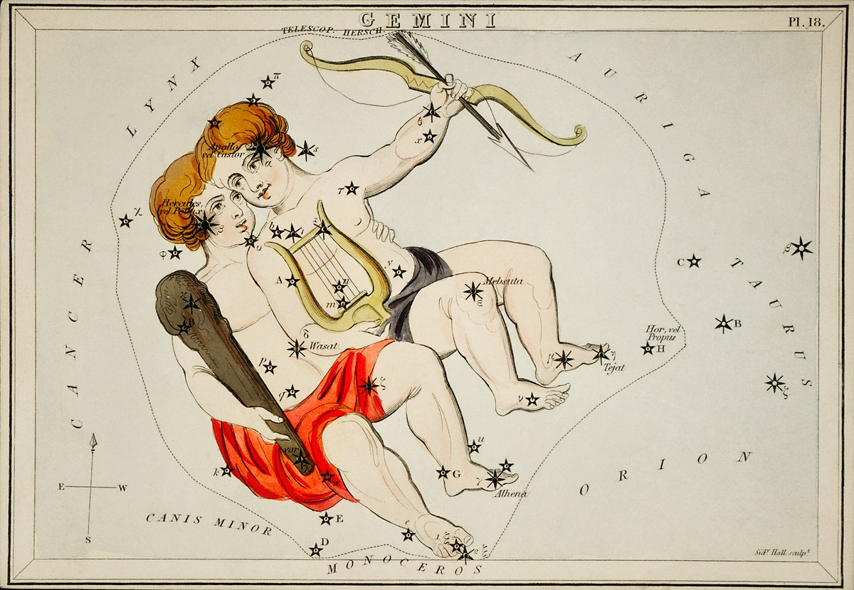 Sidney Hall's (1831) astronomical chart illustration of the zodiac Gemini. Original from Library of Congress. Digitally…