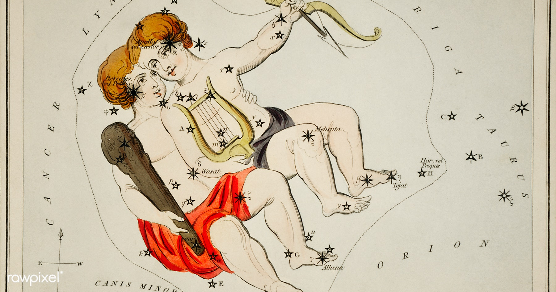 Sidney Hall's (1831) astronomical chart illustration of the zodiac Gemini. Original from Library of Congress. Digitally enhanced by rawpixel.