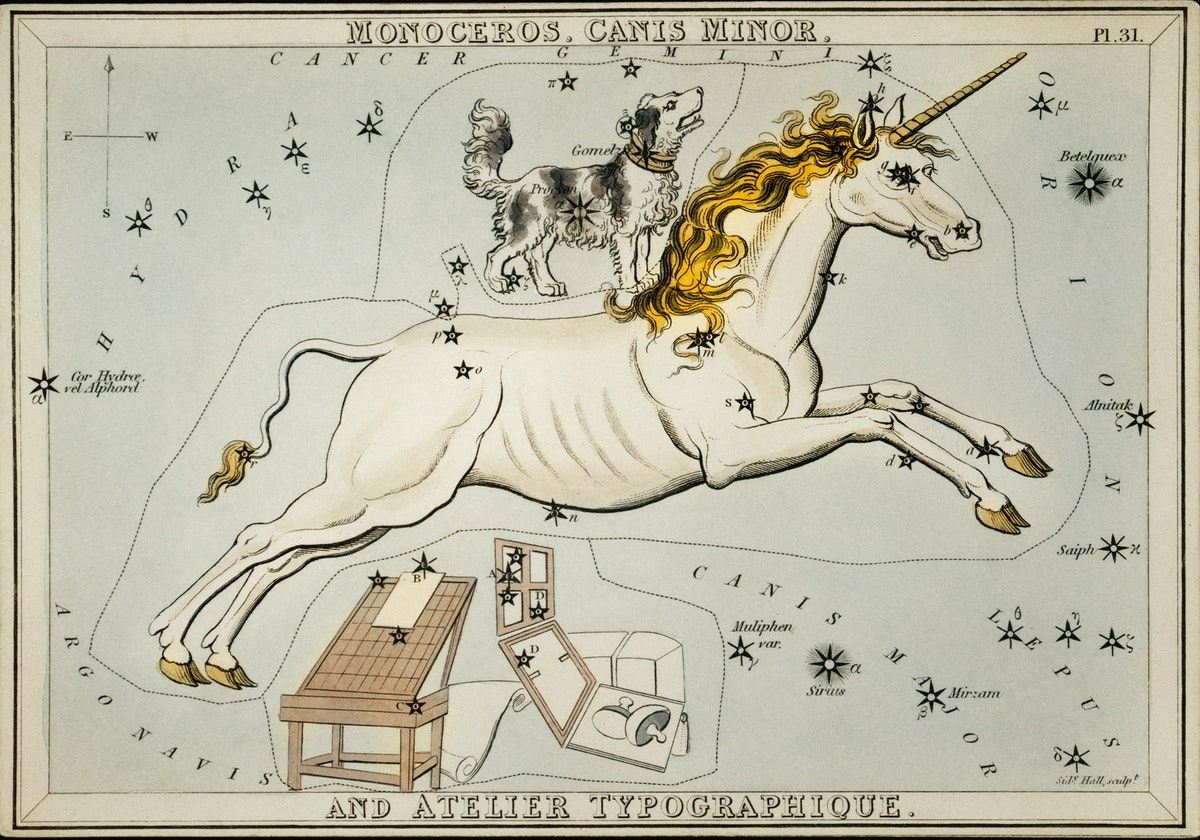 Sidney Hall's (1831) astronomical chart illustration of the Monoceros, Canis Minor and the Atelier Typographique.…