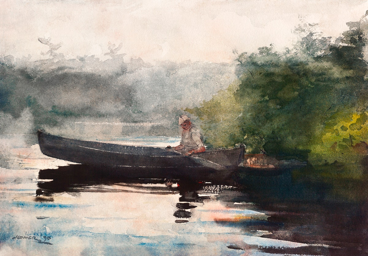 The End of the Day, Adirondacks (1890) by Winslow Homer. Original from The Smithsonian Institution. Digitally enhanced by…