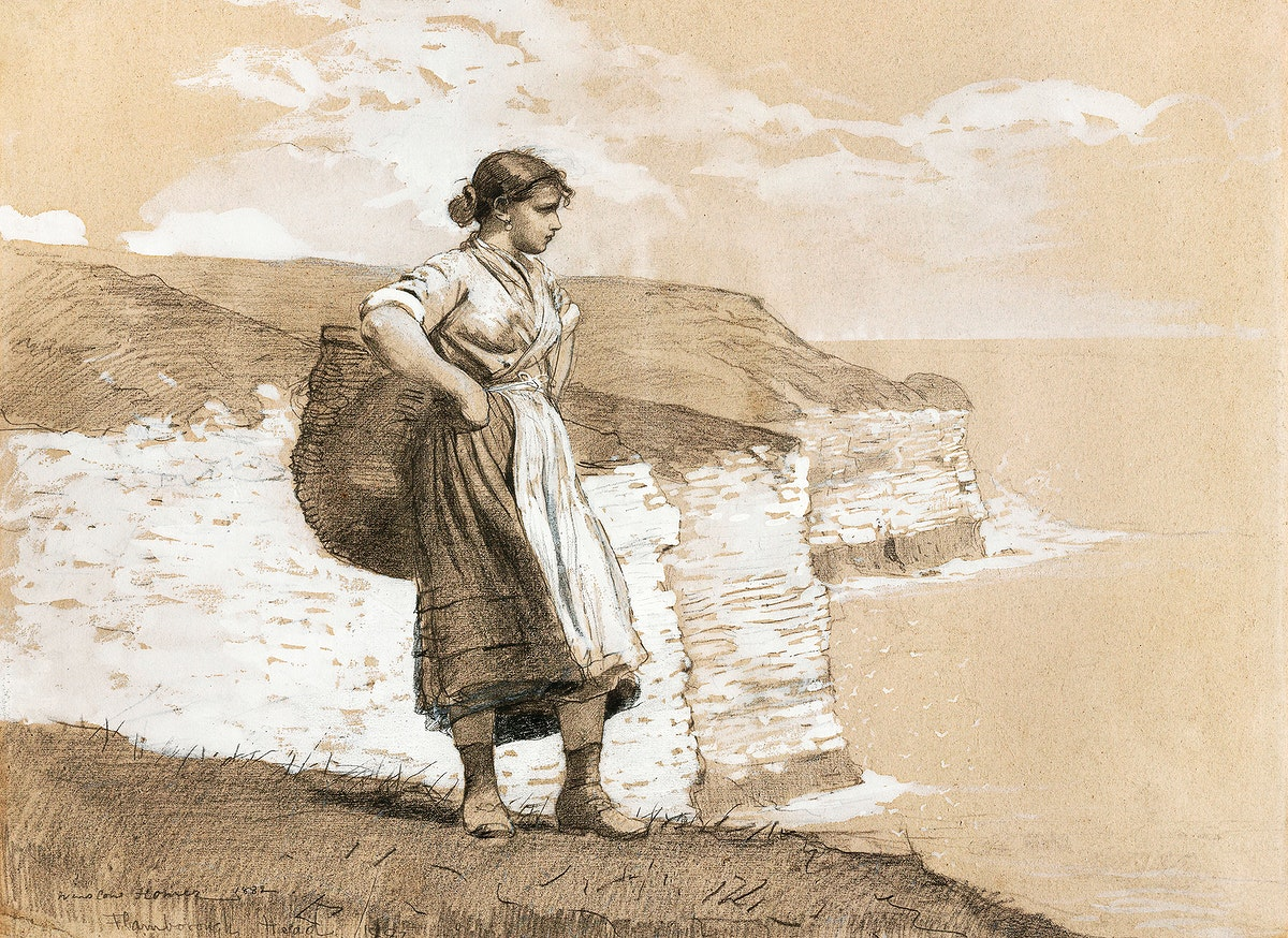 Flamborough Head, England (1882) by Winslow Homer. Original from The Smithsonian Institution. Digitally enhanced by rawpixel.