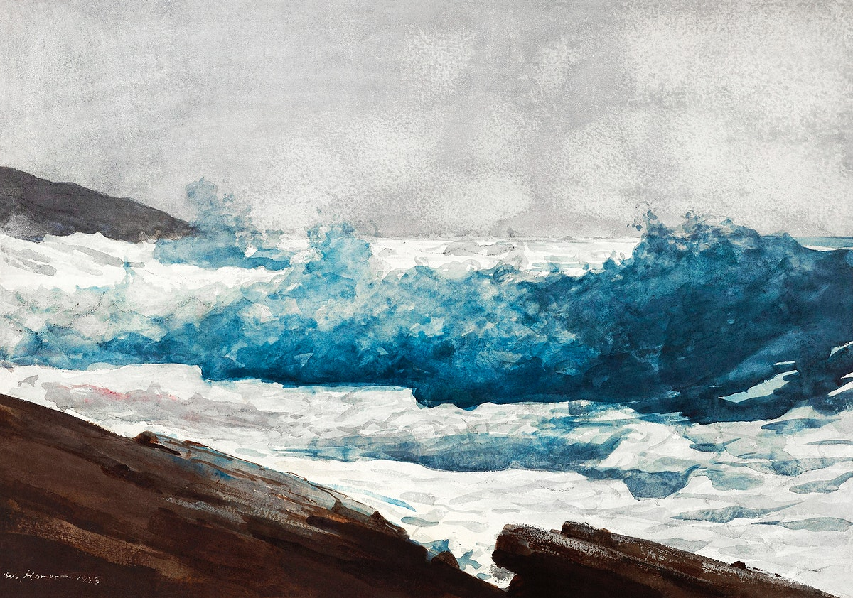 Prout's Neck, Breakers (1883) by Winslow Homer. Original from The Smithsonian Institution. Digitally enhanced by…