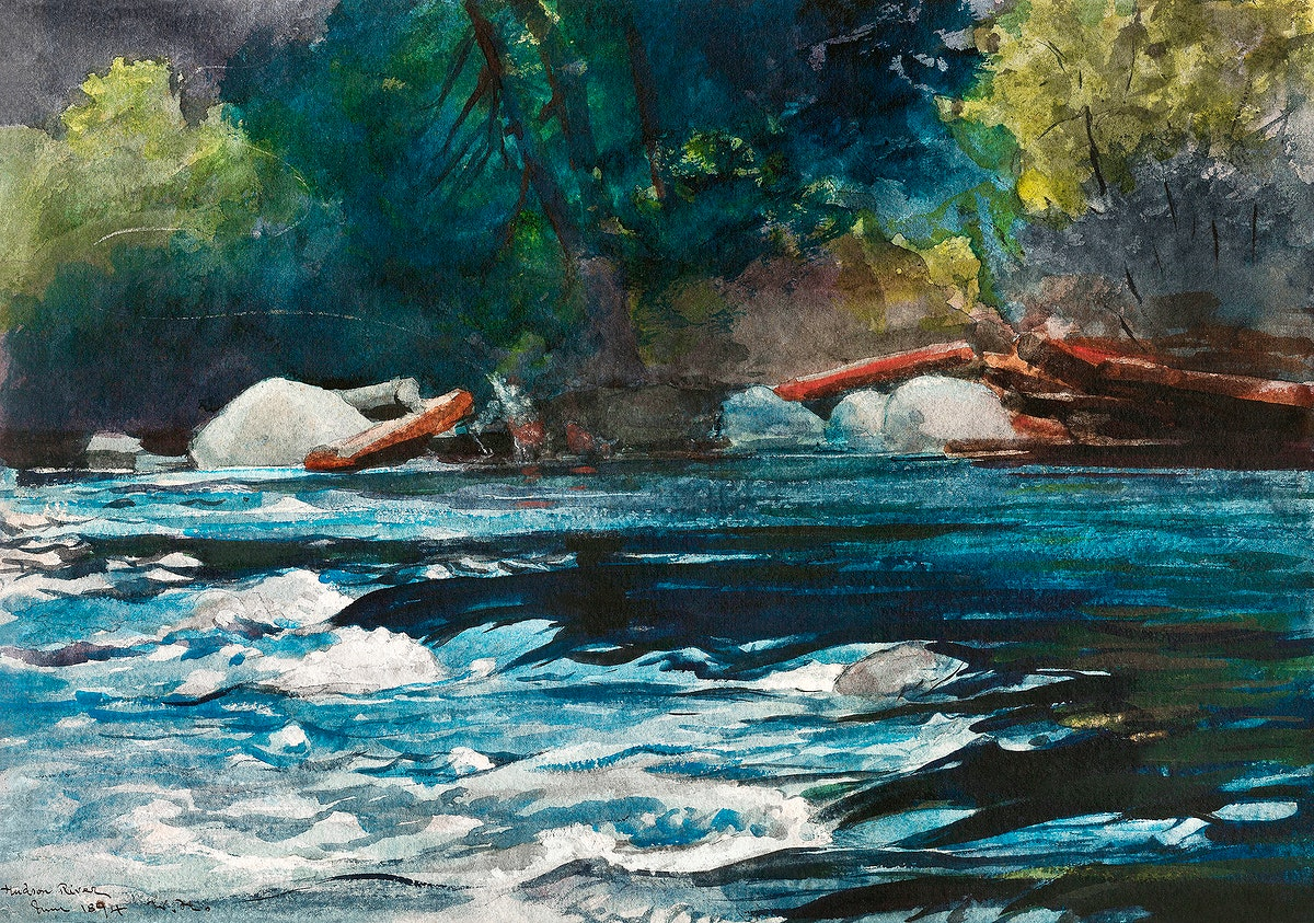 The Rapids, Hudson River, Adirondacks (1894) by Winslow Homer. Original from The Smithsonian Institution. Digitally enhanced…