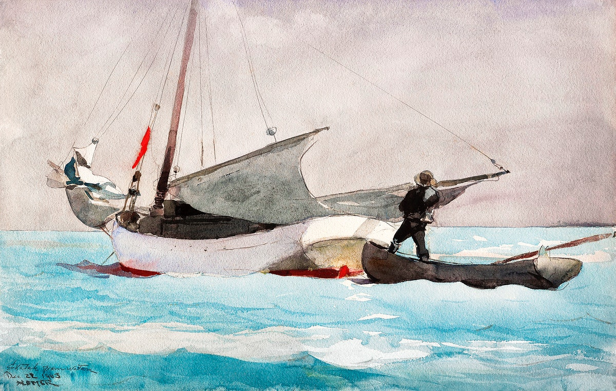 Stowing Sail (1903) by Winslow Homer. Original from The Smithsonian Institution. Digitally enhanced by rawpixel.