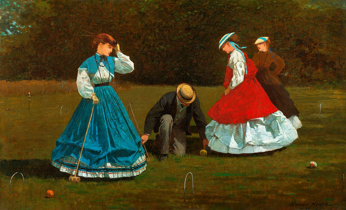 Croquet Scene (1866) by Winslow Homer. Original from The Smithsonian Institution. Digitally enhanced by rawpixel.