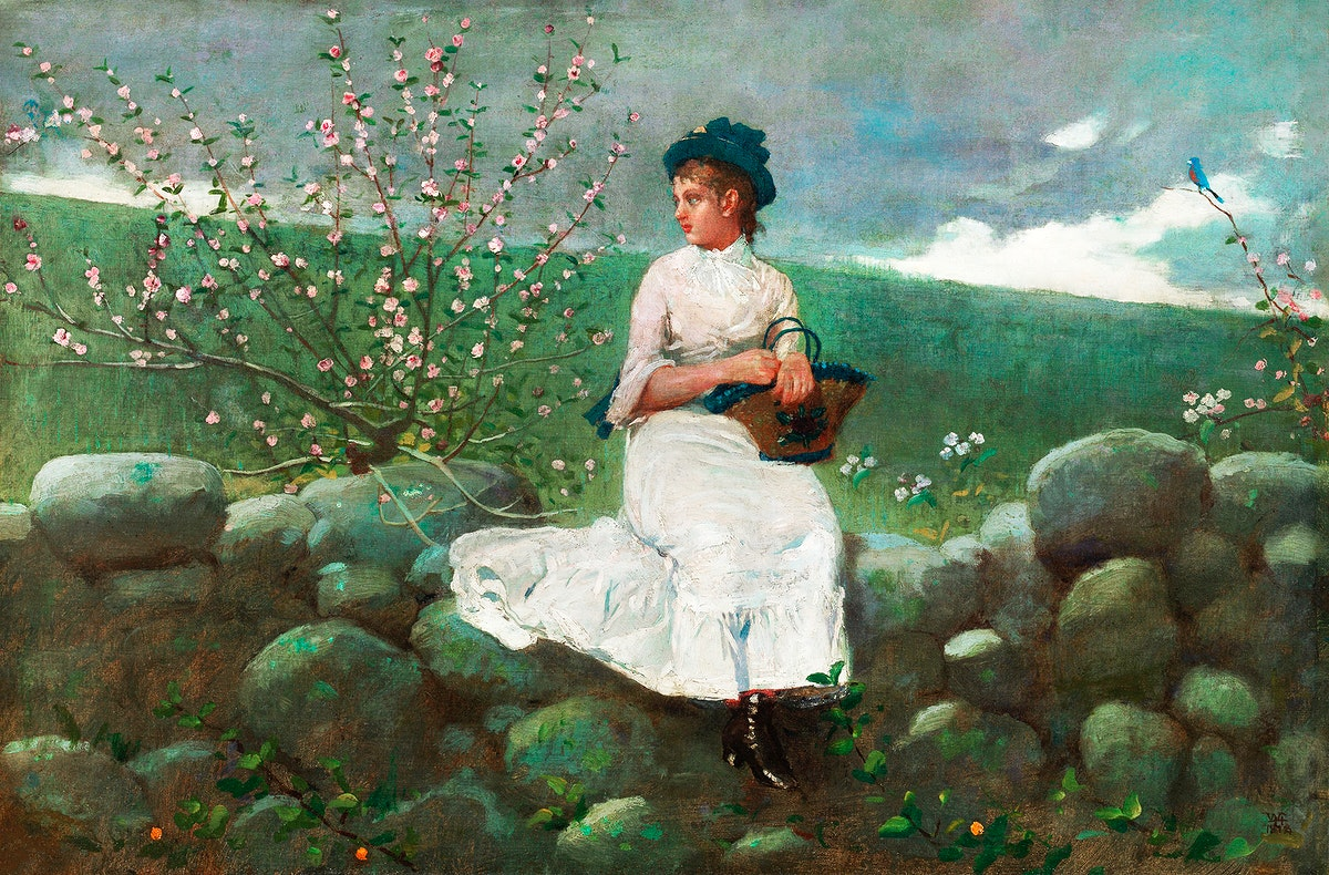 Peach Blossoms (1878) by Winslow Homer. Original from The Smithsonian Institution. Digitally enhanced by rawpixel.
