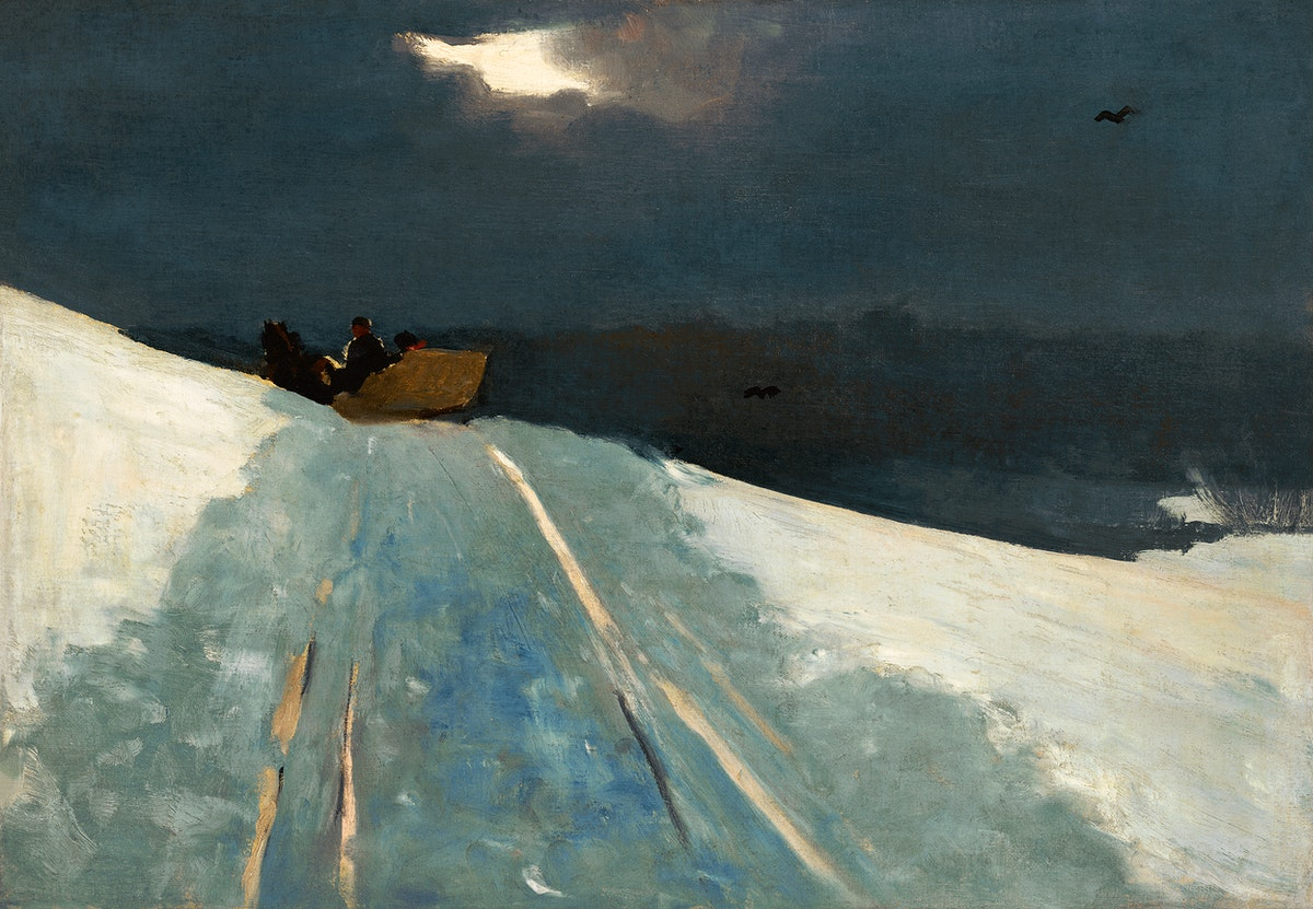 Sleigh Ride (ca. 1890–1895) by Winslow Homer. Original from The Clark Art Institute. Digitally enhanced by rawpixel.
