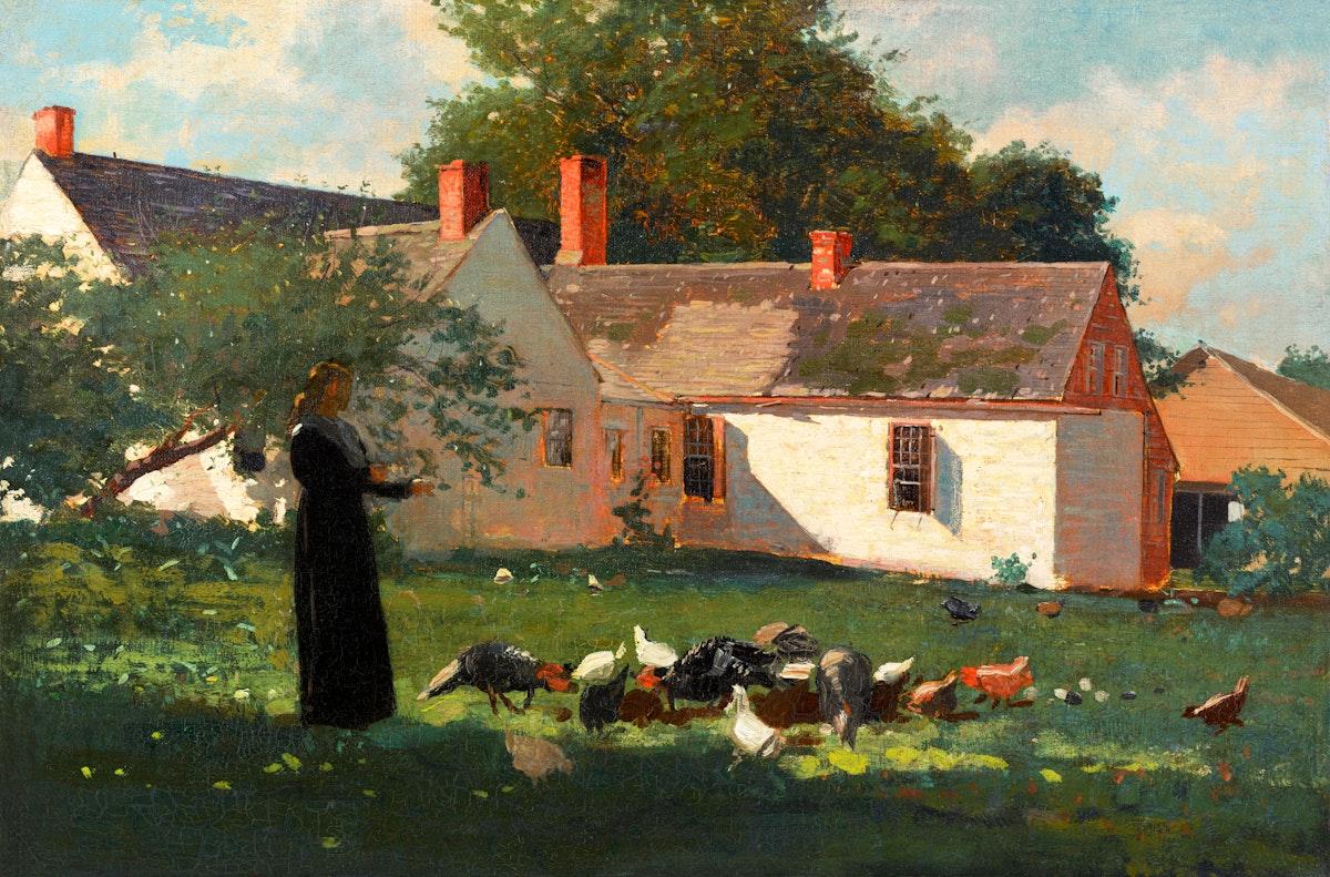 Farmyard Scene (ca. 1872–1874) by Winslow Homer. Original from The Clark Art Institute. Digitally enhanced by rawpixel.