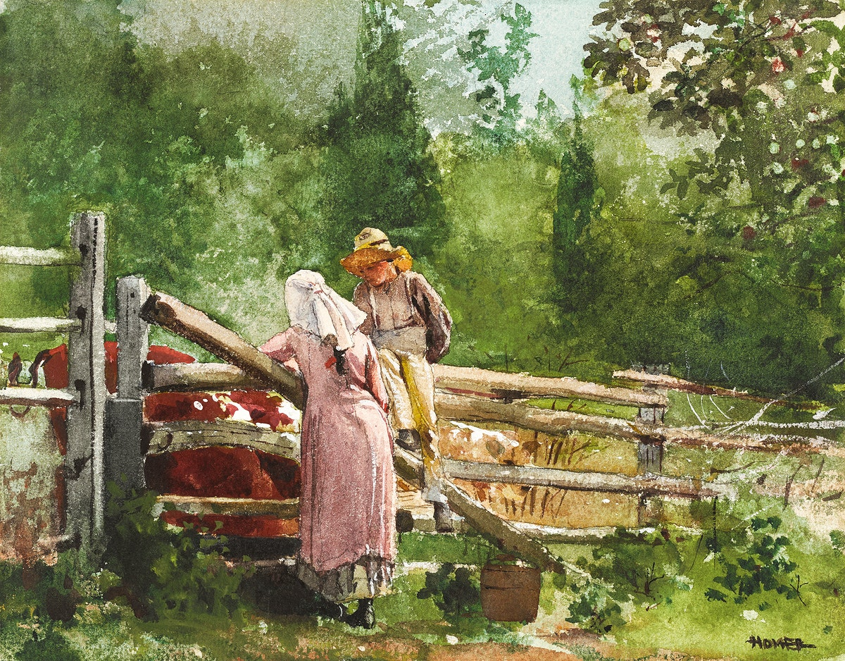 Feeding Time (1878) by Winslow Homer. Original from The Clark Art Institute. Digitally enhanced by rawpixel.