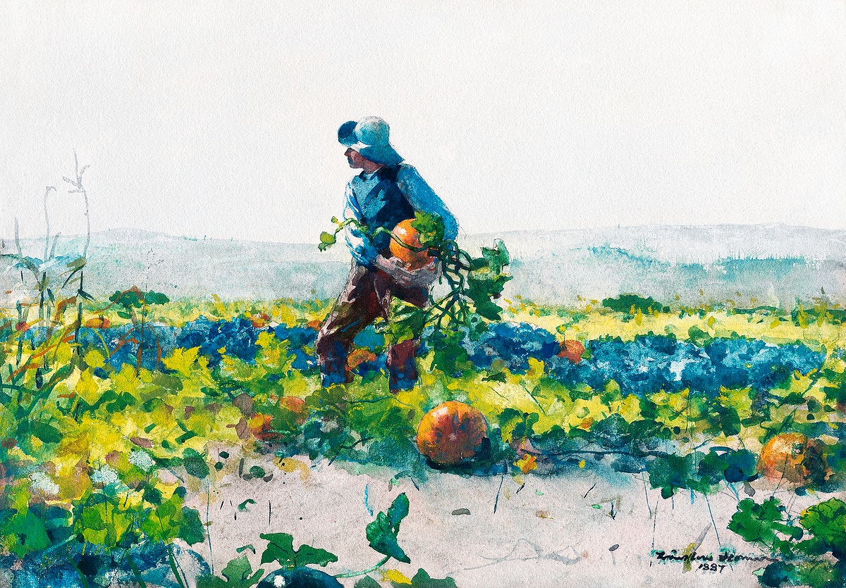 For to Be a Farmer's Boy (1887) by Winslow Homer. Original from The Smithsonian Institution. Digitally enhanced by…